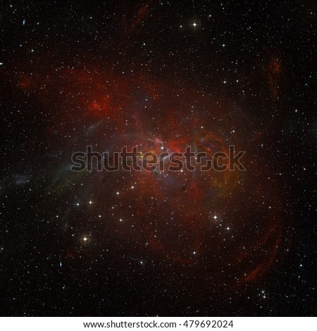 Colorfull stars nebula in outer space.