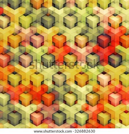 Colorfull vintage 3D boxes background - vibrance cubes pattern - stock photo
