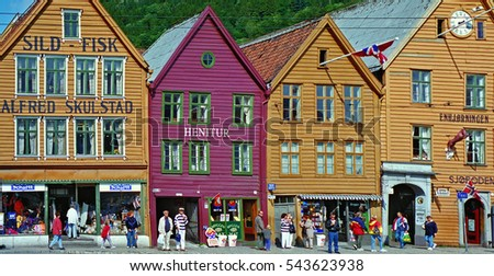 Colorfull wooden houses at the harborfront at the town  of Bergen, Norway