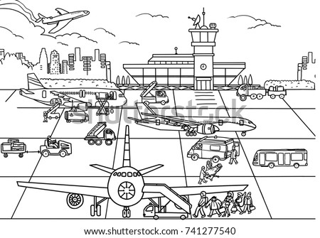 coloring airport stock illustration 741277540