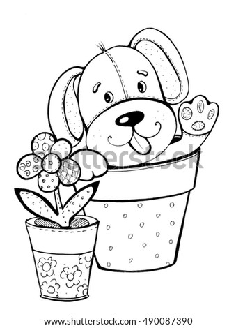Coloring Book Black And White Dog Flower Pot Fun