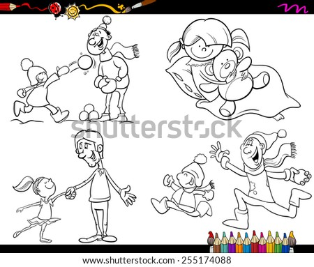 Coloring Book Cartoon Illustration of  Set of Fathers with Children Characters Set - stock photo