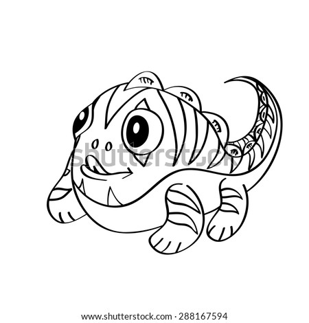 Coloring book: cute little monster - stock photo
