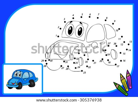 Coloring book dot to dot. Illustration of funny car