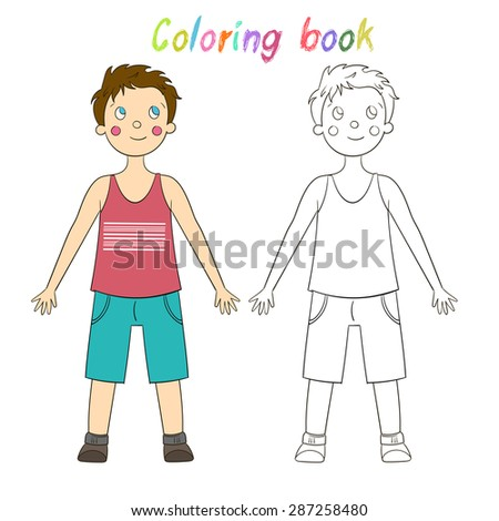 Coloring book educational game for children draw the human boy raster version