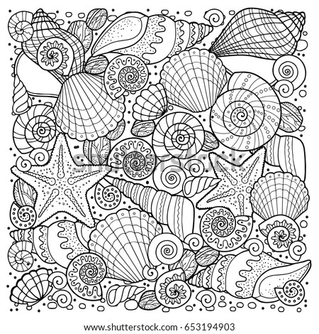 Coloring Book For Adult Meditation And Relax Backgroun Of Sell Anchors