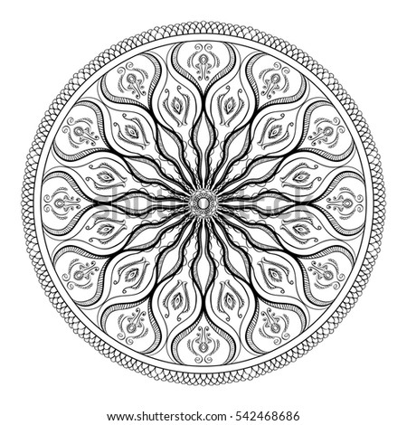 Coloring Book For Adult Page Relax And Meditation Black White Mandala Pattern