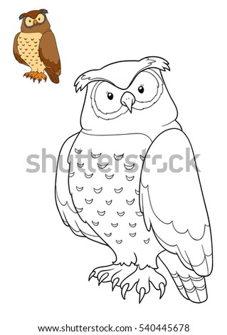 Coloring book for children, cartoon character, Owl