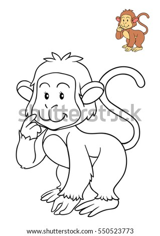 Coloring book for children monkey