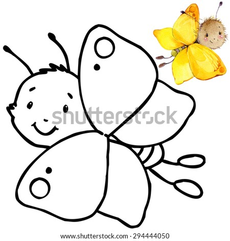 Coloring book funny Cartoon insect butterfly. Cartoon insect butterfly illustration. Entertainment for kid - stock photo