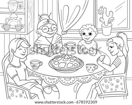 Coloring Book Grandmother Sitting Table Grandchildren Stock ...