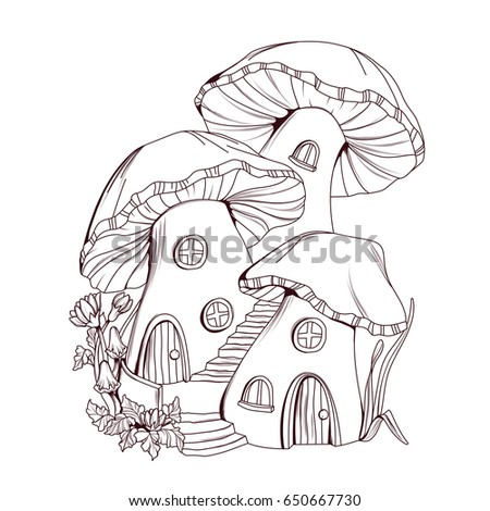 Coloring book mushroom houses fairy tale stock vector for Fairy on a mushroom drawing