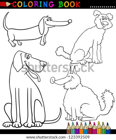 Amazing Coloring Book Or Coloring Page Black And White Cartoon Illustration Of  Funny Purebred Or Mongrel Dogs