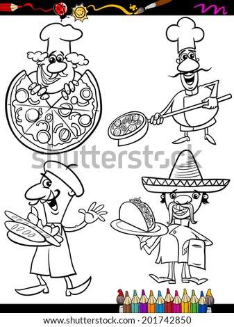 Coloring Book or Page Cartoon Illustration of Black and White Chefs Characters with National Food for Children - stock photo