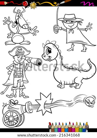 Coloring Book or Page Cartoon Illustration of Black and White Funny Fantasy Characters Set for Children - stock photo