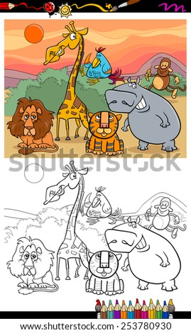 Coloring Book Or Page Cartoon Illustration Of Black And White Funny Wild Animals