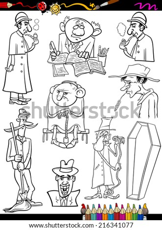Coloring Book or Page Cartoon Illustration of Black and White Retro People Characters Set for Children