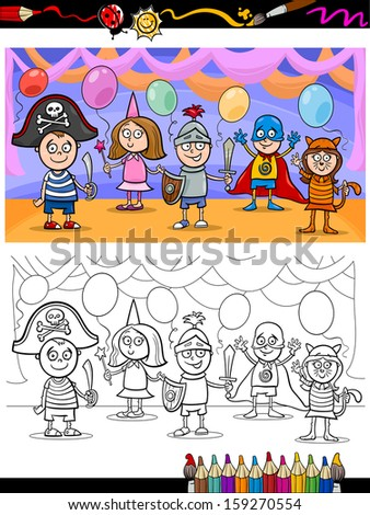 Coloring Book or Page Cartoon Illustration of Cute Little Children in Costumes on Fancy Ball for Coloring Book - stock photo