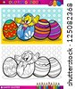 Coloring Book or Page Cartoon Illustration of Easter Little Chick or Chicken hatched from Egg and Painted Easter Eggs - stock vector