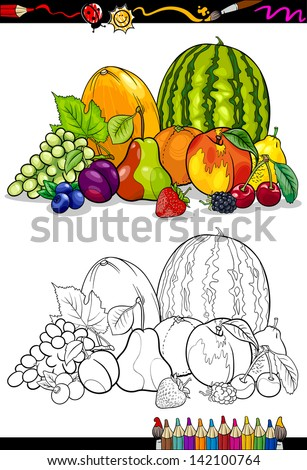Coloring Book or Page Cartoon Illustration of Fruits Food Group for Children Education