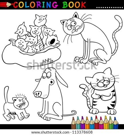 Coloring Book or Page Cartoon Illustration of Funny Cats for Children - stock photo
