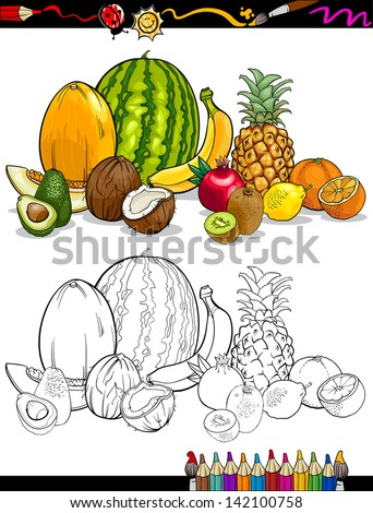 Coloring Book or Page Cartoon Illustration of Tropical Fruits Food Group for Children Education