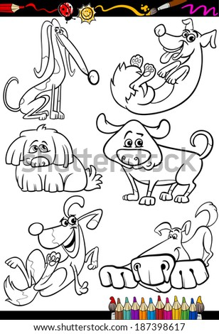 Coloring Book or Page Cartoon Illustration Set of Black and White Dogs and Puppies Characters for Children