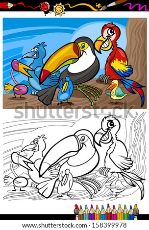 Coloring Book or Page Cartoon Illustrations of Funny Exotic Birds Mascot Characters Group for Children - stock photo