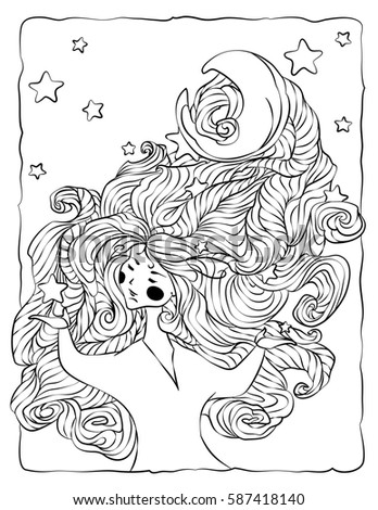 Coloring Book Page Girl With Lush Hair Stars And Moon