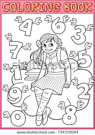 coloring book page schoolgirl and flying numbers - Coloring Book Paper Stock
