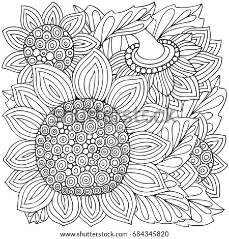 Coloring Book Page With Sunflowers And Leaf In Zentangle Style Black White Illustration