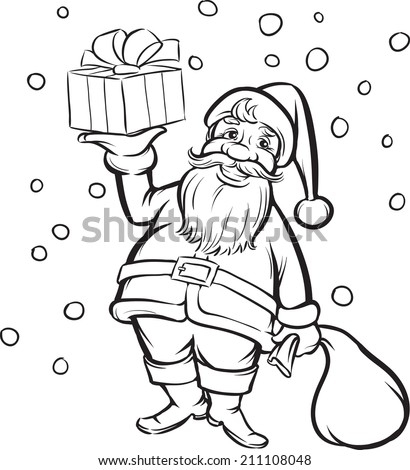 Coloring Book Santa Claus with Christmas gift - stock photo
