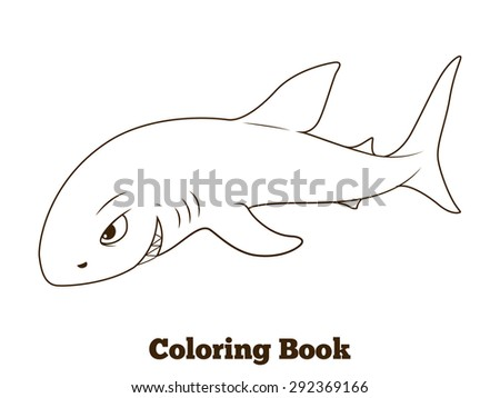 Coloring Book Shark Cartoon Educational Illustration Stock ...