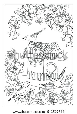 Birds House Coloring Page Stock Vector 619720103