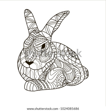 coloring coloring page bunny rabbit rodent stock illustration