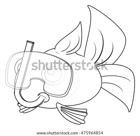Coloring Fish In Mask On The White Background
