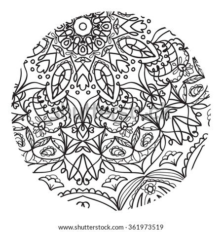Coloring for adults mandala pattern unique coloring book raster illustration a