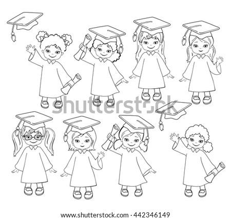 Coloring Girls Set Children Graduation Gown Stock Illustration ...