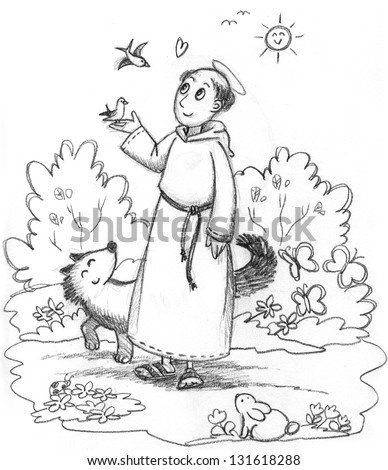 st francis of assisi coloring page - saint francis of assisi stock images royalty free images