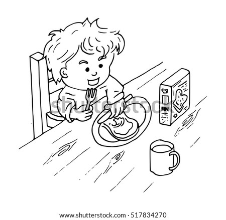 Coloring Child Making Sandwich Stock Illustration 517834270 ...