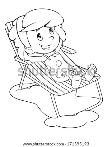 Coloring Page Cartoon Child Having Fun Stock Illustration