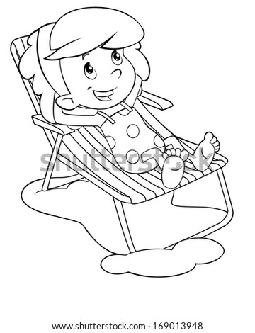 Coloring page - child having fun - illustration for the children - stock photo