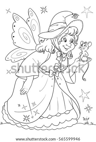Coloring Page Cinderellas Fairy Godmother Stock Illustration