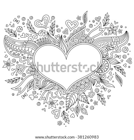 Coloring Page Flower Heart St Valentines Stock Illustration ...