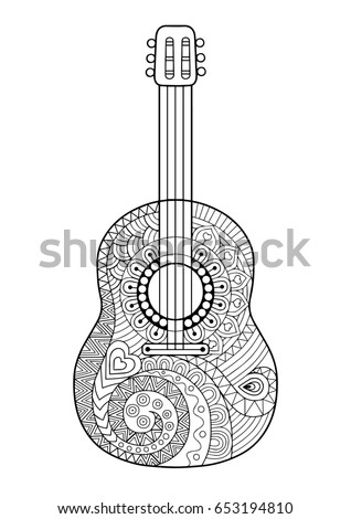 Coloring Page For Adult Antis Tress And Relax Meditation Guitar With Black