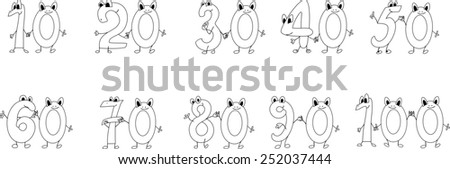 Coloring page funny numbers - stock photo