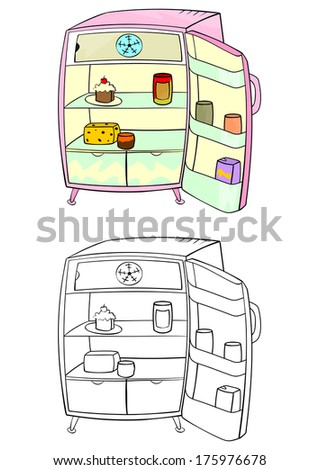Coloring page of an open refrigerator on a white background. Raster