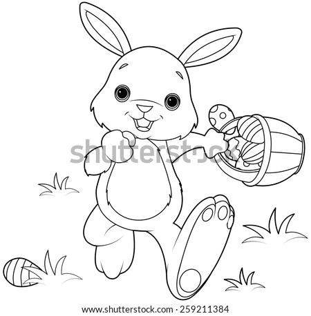 Coloring page of Easter Bunny Hiding Eggs - stock photo