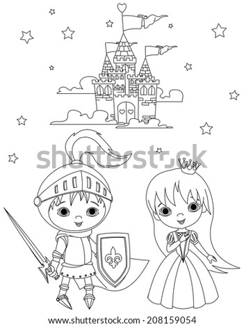 Coloring page of young knight and cute princess against the backdrop of the castle - stock photo
