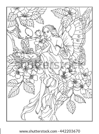 enchanted fairies coloring pages | Coloring Page Enchanted Fairy Stock Illustration 442203670 ...